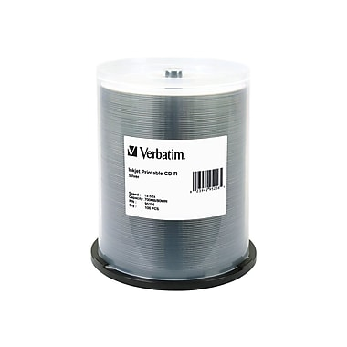 Verbatim® 700MB Silver CD-R, Spindle, 100/Pack