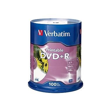 Verbatim® 4.7GB 16X White DVD+R, Spindle, 100/Pack