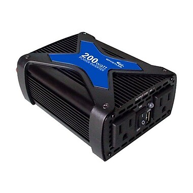 Whistler® 200 W Power Inverter With USB Port, 12 VDC Input, 110 VAC Output, 2 Outlets