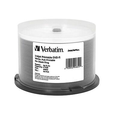 Verbatim® DataLifePlus 4.7GB 8X White Inkjet Hub Printable DVD-R, Spindle, 50/Pack