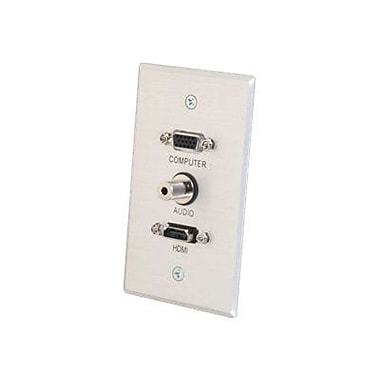 C2G® 41034 Single Gang HDMI, HD15 VGA and 3.5mm Wall Plate, Brushed Aluminum