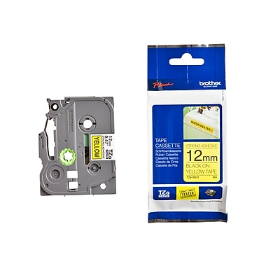 Brother® TZE 0.47in.(W) Industrial Label Tape, Black On Yellow