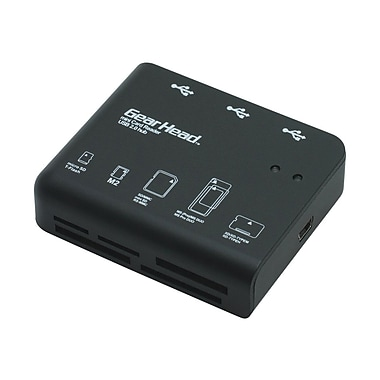 Gear Head™ CR7500H 58-in-1 Digital Card Reader + 3-Port Hub