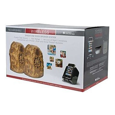 C2G 41309 Wireless Rock Speaker Bundle With Dual Power Transmitter, Brown/Sandstone