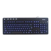 A4Tech® KD-126 Blue LED Backlit Multimedia Wired Keyboard, Black
