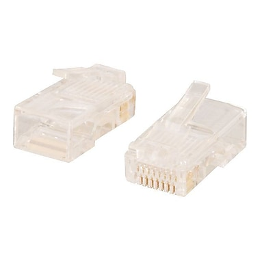 C2G® Cat5 RJ45 8x8 Modular Plug For Round Stranded Cable, Transparent