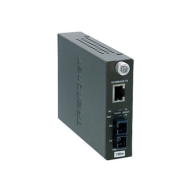 TRENDNET® TFC-110S15 10/100TX to 100FX Single Mode SC Fiber Converter, 100 Mbps