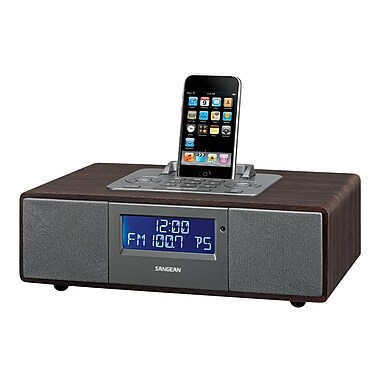 Sangean WR-5 Tabletop Wooden Cabinet Speaker System W/AM/FM-RDS Radio and Dock For iPod, Dark Walnut
