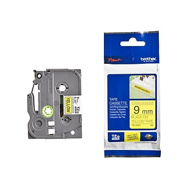 Brother® TZE 0.35in.(W) Industrial Label Tape, Black On Yellow