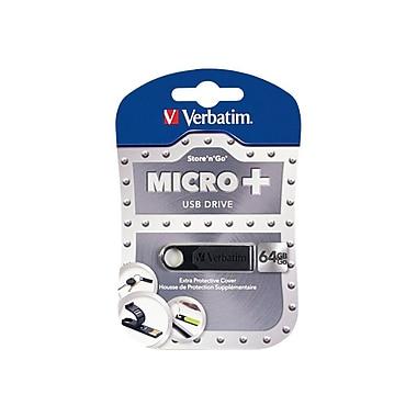 Verbatim Micro Plus USB 2.0 Flash Drive, 64GB, Black