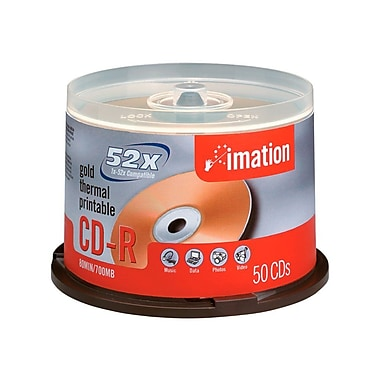 Imation 17300 700 MB CD-R Spindle, 50/Pack