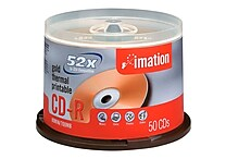 Imation 700MB 52X Gold Thermal Printable CD-R, Spindle, 50/Pack