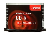 Imation 700MB 52X Inkjet Printable CD-R, Spindle, 50/Pack