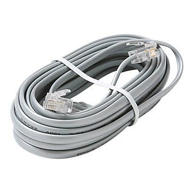 STEREN® 7' 4C Telephone Line Cord, Silver