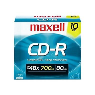 Maxell 700MB 40X CD-R, Slim Jewel Case, 10/Pack