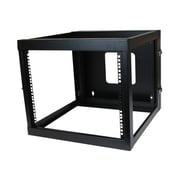 StarTech RK819WALLOH 8U Hinged Open Frame Wall Mount Server Rack, Black