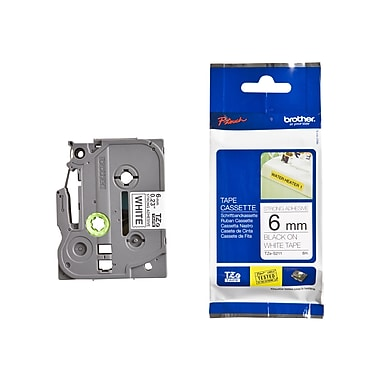 Brother® TZE 0.23in.(W) Industrial Label Tape, Black On White