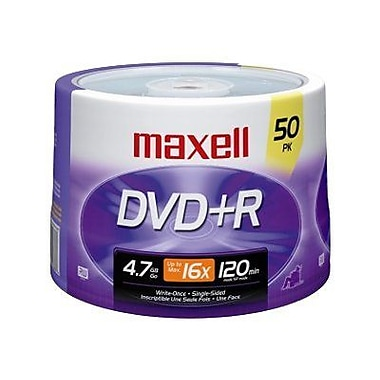 Maxell 4.7GB DVD+R, Spindle, 50/Pack