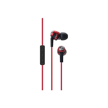 Audio-Technica® SonicFuel™ ATH-CK323i In-Ear Headphones With Mic and Volume Control, Red