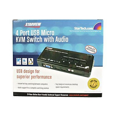 STARTECH.COM® SV411KUSB USB KVM Switch Kit With Audio And Cables, 4 Ports