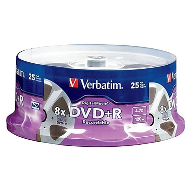 Verbatim® Digital Movie® 4.7GB 8X DVD+R, Spindle, 25/Pack