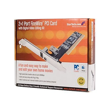 Startech.Com® PCI1394_2LP 3 Port PCI Low Profile FireWire Adapter Card