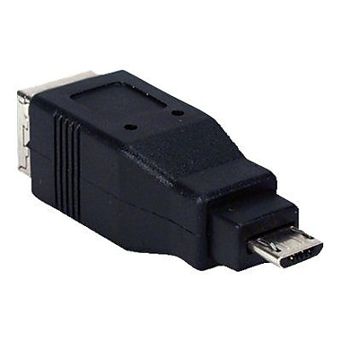 QVS® USB High-Speed OTG Micro-B Male to USB B Female Adaptor, Black