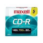Maxell 648205 700 MB CD-R Slim Jewel Case, 5/Pack