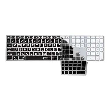 KB Covers Large Type Keyboard Cover With Black Buttons and Number Pad For Apple, Clear