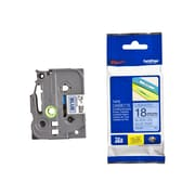 Brother® TZE 0.7(W) Label Tape, Black On Blue