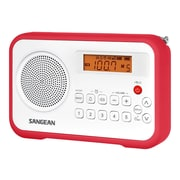 Sangean® PR-D18 FM/AM Digital Tuning-Portable Receiver, White/Red