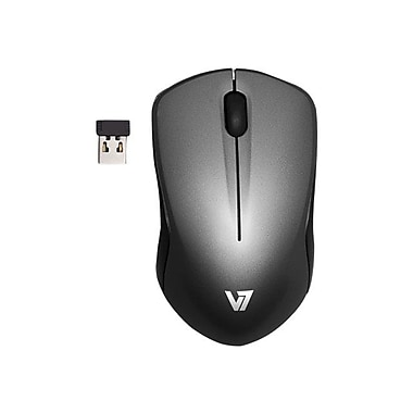 V7 MV3060202-8NB USB Wireless Mobile Blue Trace Optical Mouse, Black/Dark Gray