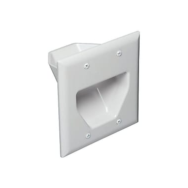 Datacomm™ 45-0002 2 Gang Recessed Low Voltage Cable Plate, Ivory