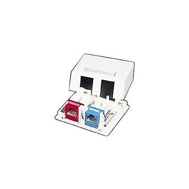 C2G® 03833 Keystone Jack Surface Mount Box, White, 2-Port