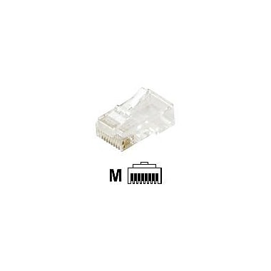 STEREN® 8P8C Flat-Cable Modular Plug, Clear