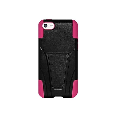 Amzer® Hybrid Double Layer Case With Kickstand For iPhone 5C, Black/Hot Pink