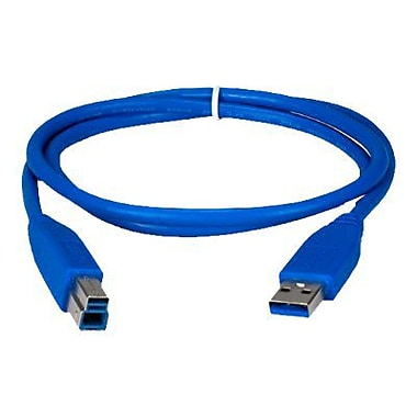 QVS 3' USB 3.0 Male to Male Data Transfer Cable, Blue