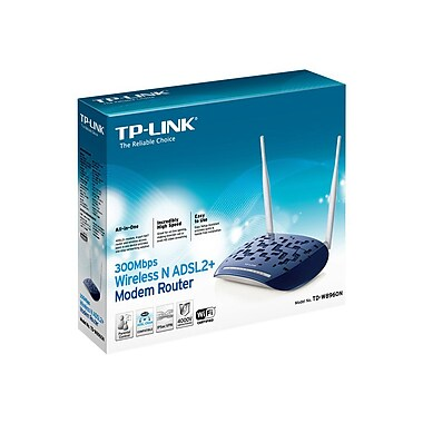 TP-LINK TD-W8960N Wireless N300 ADSL2+ Modem Router, 2.4Ghz 300Mbps, 802.11b/g/n, Splitter, 2x 3dBi detachable antennas