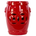 Urban Trends 17.5'' Ceramic Garden Stool; Red