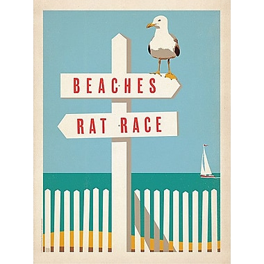 Printfinders Beaches vs. Rat Race by Lina Alattar Graphic Art on Canvas; 32'' x 24''
