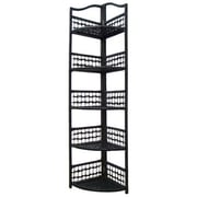 Hazelwood Home Folding Wicker Corner Shelving Unit; Black