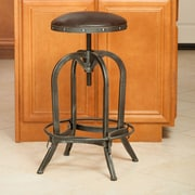 Home Loft Concepts Adjustable Height Swivel Bar Stool; Bonded Leather - Brown
