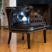 Home Loft Concepts Theodore Leather Side Chair; Black