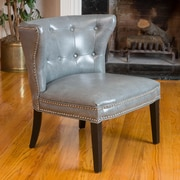 Home Loft Concepts Theodore Leather Side Chair; Grey