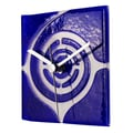 River City Clocks Square Glass Wall Clock with Swirl; Blue