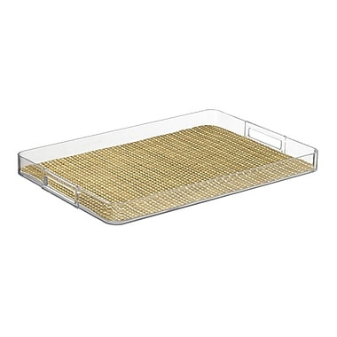 Kraftware Woven 19'' Handled Rectangle Serving Tray; Straw
