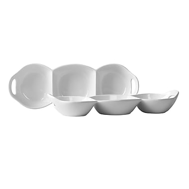 Tabletops Gallery Blanc de Blanc 3 Section Condiment Divided Serving Dish (Set of 2)