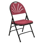 National Public Seating 1100 Series Steel Frame Fanback Folding Chair, Burgundy 100/Pack (1118/100)