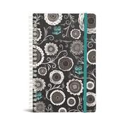 "Bookjigs Hard-cover Spiral-Bound Notebook, 8"" x 5"", Iron Blossoms"