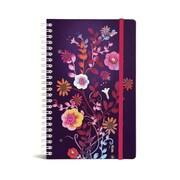 """Bookjigs Hard-cover Spiral-Bound Notebook, 8"""" x 5"""", Night Garden"""